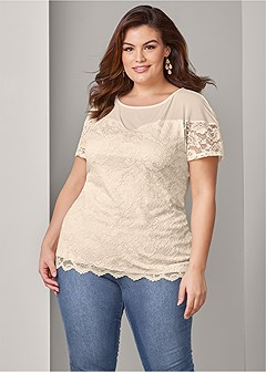 plus size sweetheart lace top