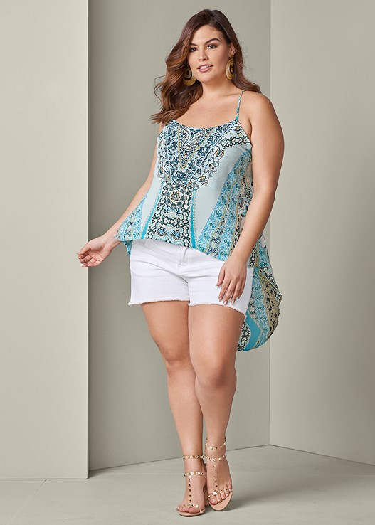 HIGH LOW PRINT TOP,CUT OFF JEAN SHORTS,TRANSPARENT STUDDED HEELS,RESIN DOUBLE HOOP EARRINGS
