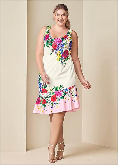 Plus Size Ruffle Trim Detail Dress