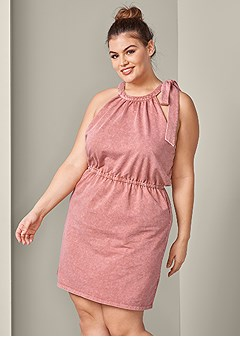 plus size tie shoulder lounge dress