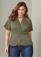 plus size knot front detail top