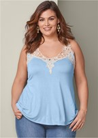 plus size crochet detail top