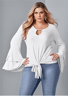 plus size bell sleeve keyhole top