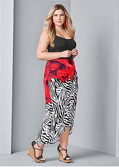 plus size print maxi skirt