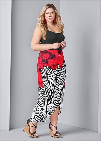Plus Size Print Maxi Skirt