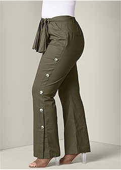 plus size button detail linen pants