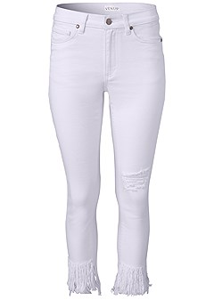 plus size frayed ripped jeans