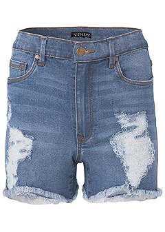 plus size distressed jean shorts