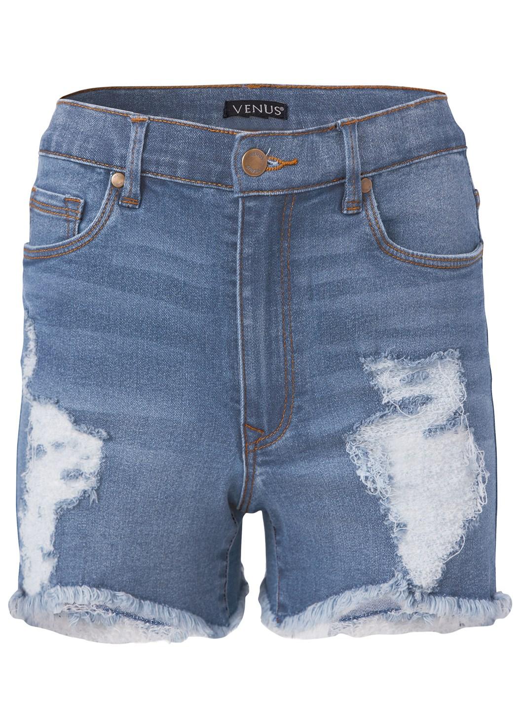 Distressed Jean Shorts,Cap Sleeve Basic Top,Elastic Back Visor
