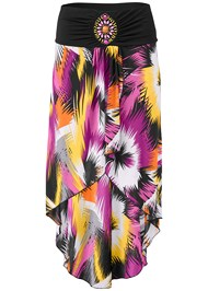 Ghost  view Print High Low Skirt