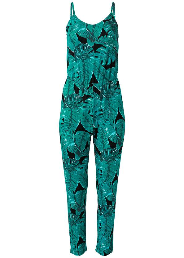 Alternate View Palm Leaf Printed Jumpsuit