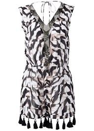 Ghost  view Beaded Animal Print Romper