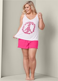 Front View Graphic Sleep Shorts Set