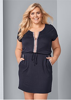 plus size zip front lounge dress