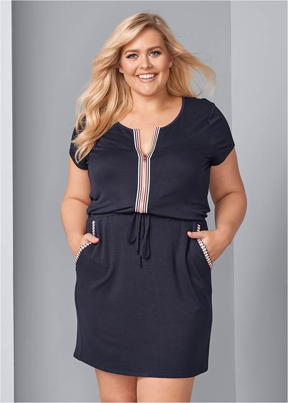 Front View Zip Front Lounge Dress