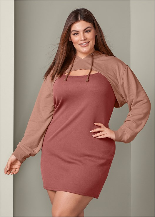 Plus Size TWO PIECE SWEATSHIRT DRESS in Mostly Mauve | VENUS