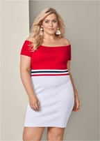 plus size color block ribbed dress