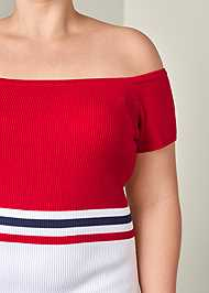 Alternate View Color Block Ribbed Dress