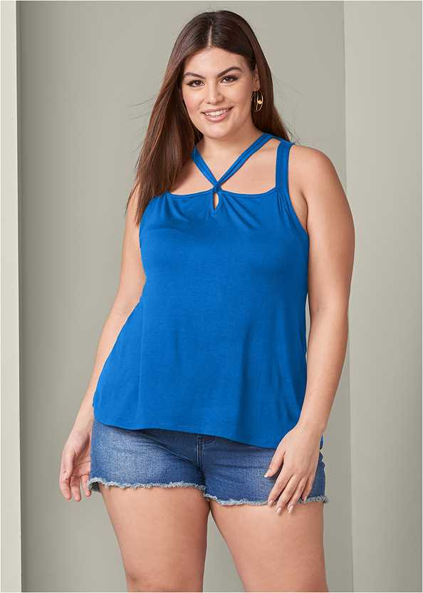 Strappy Detail Top,Frayed Cut Off Jean Shorts