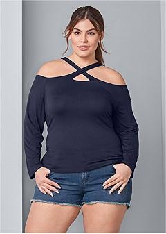 plus size crisscross neck top