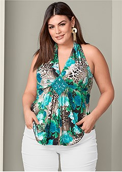 plus size trim detail print top