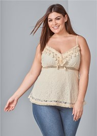 Front View Pearl Detail Lace Top