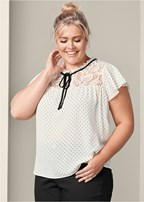 plus size polka dot top with lace