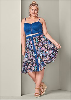 plus size denim two piece set