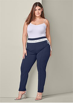 plus size laced waistband leggings