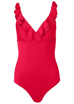 plus size ruffle trimmed one-piece