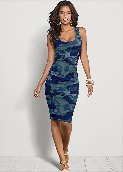 sleeveless ruched bodycon midi dress