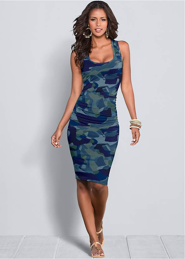 Sleeveless Ruched Bodycon Midi Dress,Jean Jacket,Ruched Tank Maxi Dress,Basic High Neck Dress,Pearl By Venus® Strappy Plunge Bra,Confidence Seamless Dress,Knotted Slouchy Boots,High Heel Strappy Sandals,Beaded Drop Earrings,Twist Handle Satchel Bag