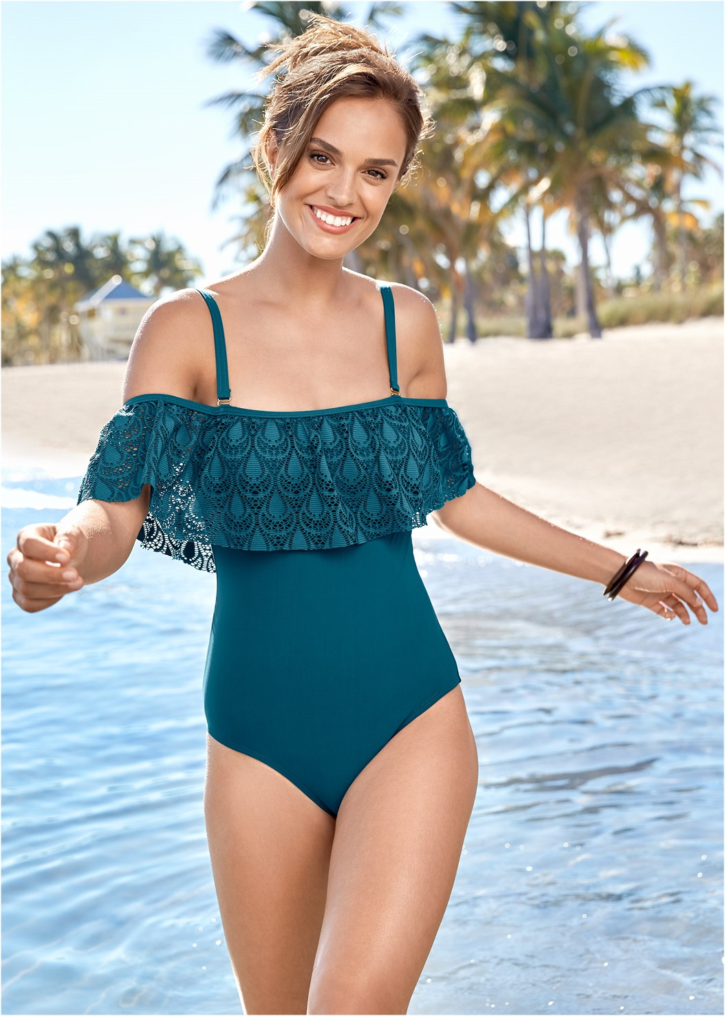 Drip Drop Crochet One-Piece,Tie Waist Beach Pant