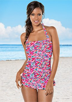 skirted halter one-piece