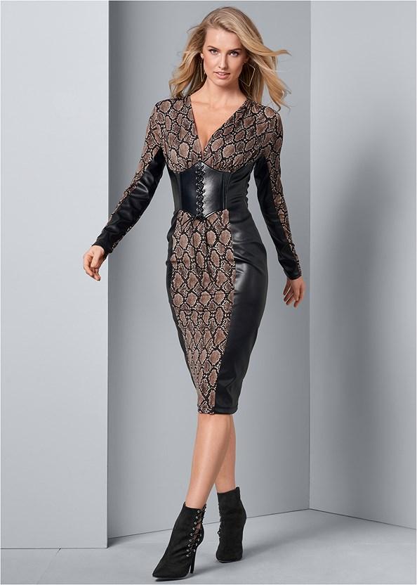 Faux Leather Detail Dress,Square Hoop Earrings