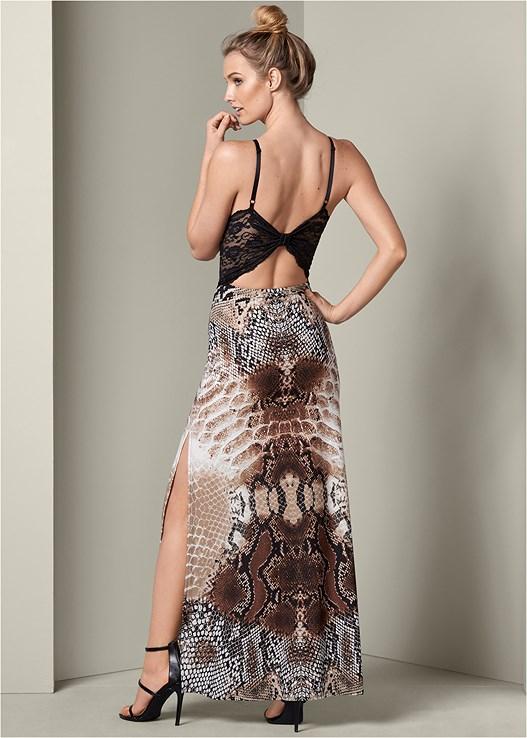 Lace Python Print Dress by Venus