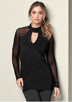 mesh detail surplice tunic