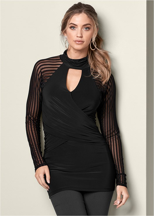 MESH DETAIL SURPLICE TUNIC,SLIMMING STRETCH JEGGINGS,EVERYDAY YOU STRAPLESS BRA,STUD DETAIL HANDBAG