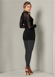 Back View Mesh Detail Surplice Tunic