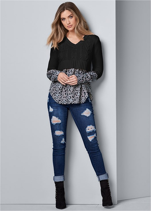DISTRESSED BUM LIFTER,SHIRTING DETAIL SWEATER,EVERYDAY YOU LACE HIPSTER,LACE UP BOOTIE