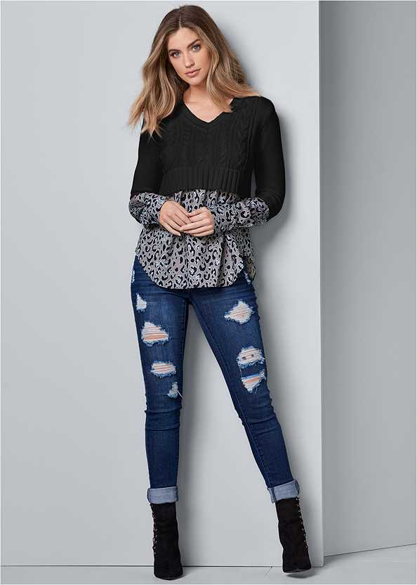 Ripped Skinny Jeans,Shirting Detail Sweater,Bum Lifter Jeans,Stud Detail Scarf