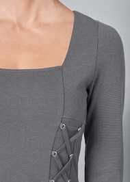 Alternate View Lace Up Square Neck Top