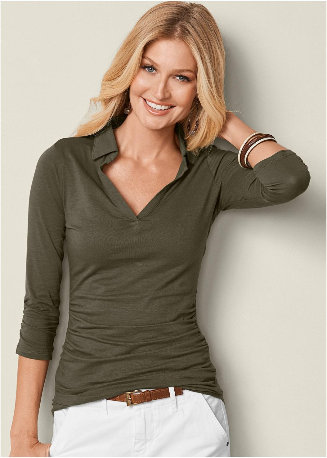 Knit Shirt,Belted Cuffed Shorts