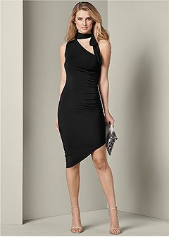 neck tie bodycon dress