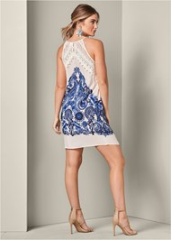 Back View Printed Lace Dress