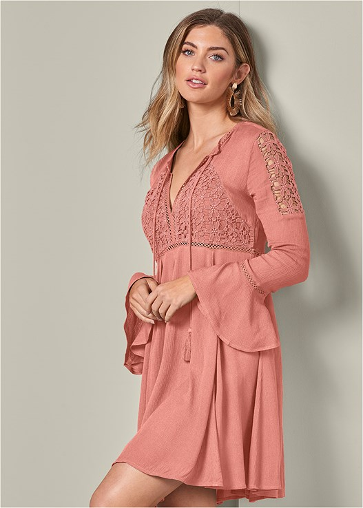 LACE DETAIL DRESS,NAKED T-SHIRT BRA,PERFORATED BOOTIES