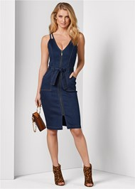Front View Denim Dress With Zipper
