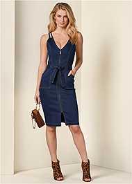 Front View Denim Dress With Zipper