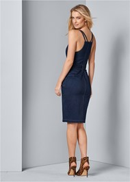 Back View Denim Dress With Zipper