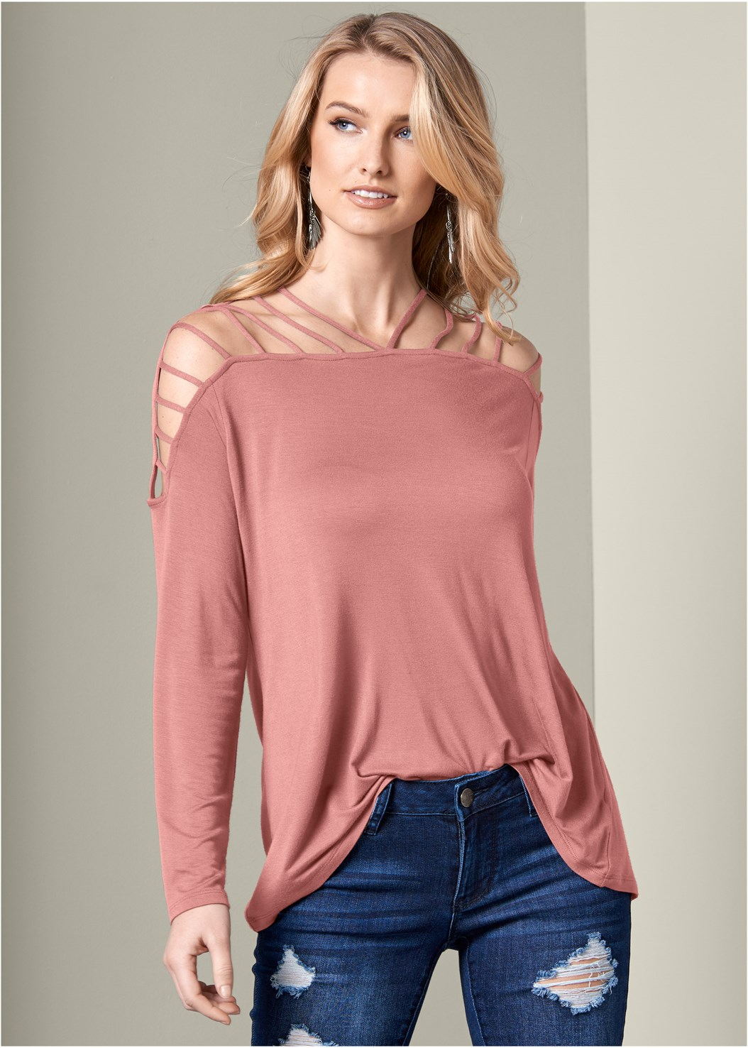 Strappy Detail Top,Ripped Bum Lifter Jeans